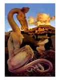 The Reluctant Dragon Autocollant mural par Maxfield Parrish