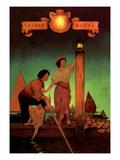 Venetian Lamplighters Wallstickers af Maxfield Parrish