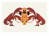 Chef and a Pair of Lobsters Autocollant mural par Maxfield Parrish