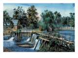 Mill-Dam Wallstickers af Currier & Ives,