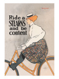 Ride a Stearns and Be Content Wall Decal by Edward Penfield