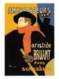 Ambassadeurs: Aristide Bruant dans Son Cabaret Vinilo decorativo por Henri de Toulouse-Lautrec