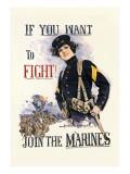 If You Want to Fight! Join the Marines Veggoverføringsbilde av Howard Chandler Christy