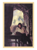 Reading the Bible Wallstickers af Newell Convers Wyeth
