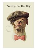 Dog in Hat and Bow Tie Smoking a Cigar Wall Decal