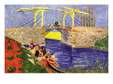 The Langlois Bridge At Arles with Women Washing Seinätarra tekijänä Vincent van Gogh