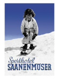 Sporthotel Saanenmoser: Little Girl Skiing Wall Decal by Armin Reiber