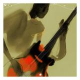 Playing Red and Black Bass Guitar Decalcomania da muro