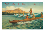 Waikiki Autocollant mural par Kerne Erickson