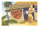 Bamboo Bar & Grill - Hawaï Autocollant mural par Kerne Erickson