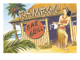 Bamboo Bar and Grill, Hawaii Wallstickers af Kerne Erickson