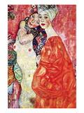 The Girlfriends Vinilo decorativo por Gustav Klimt