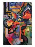Colored Composition (Homage  Sebastian Johann Bach) Wallstickers af Auguste Macke
