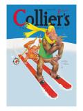 Skiing Monkeys Väggdekal av Lawson Wood