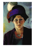 Portrait of The Wife of The Artist with a Hat Wall Decal by Auguste Macke
