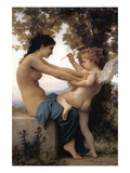 A Young Girl Defending Herself Against Eros Autocollant mural par William Adolphe Bouguereau