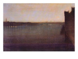 Nocturne In Gray and Gold, Westminster Bridge Autocollant mural par James Abbott McNeill Whistler
