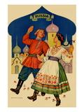 Russian Dancers In a Folk Costume Wall Decal