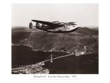 Boeing B314, au-dessus de la baie de San Francisco, Californie 1939 Autocollant mural par Clyde Sunderland