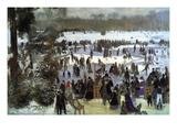 Skating Runners In The Bois De Bologne Veggoverføringsbilde av Pierre-Auguste Renoir
