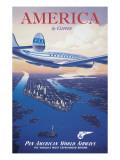 Reclameposter luchtvaartmaatschappij, Engelse tekst: America by Clipper Muursticker van Kerne Erickson