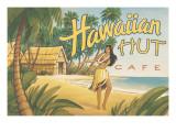 Hawaiian Hut Cafe Autocollant mural par Kerne Erickson