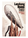 Graf Zeppelin Flies over the Cathedral in Basel Switzerland Wallstickers af Otto Jacob Plattner