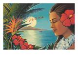 Lever de lune à Aloha Autocollant mural par Kerne Erickson