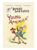 Puck's Library: Young America Decalcomania da muro di Frederick Burr Opper