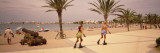 Two Women Inline Skating, Tossa del Mar Beach, Spain Wallstickers af Panoramic Images,