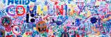 Close-Up of a Hand Painted Community Banner, Eureka, California, USA Decalcomania da muro di Panoramic Images,