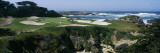 View of People Playing Golf at a Golf Course, Cypress Point Club, Pebble Beach, California, USA Decalcomania da muro
