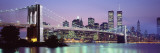 Bridge across a River Lit Up at Dusk, Brooklyn Bridge, East River, World Trade Center Seinätarra