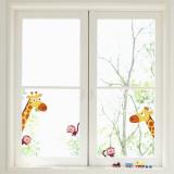 Giraffen und Affen Fensteraufkleber