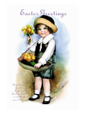 With Greetings for Easter Wall Decal by Ellen H. Clapsaddle