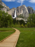 Yosemite Falls with Wooden Walkway in Foreground Photographic Print by Emily Riddell