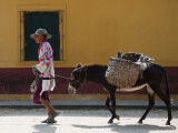 Elderly Woman Walking with Her Donkey Fotografisk tryk af Margie Politzer