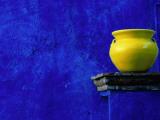 Yellow Pot and Blue Wall Fotografie-Druck von Douglas Steakley
