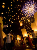 Lights, Lanterns and Mobile Phones at Loi Krathong Festival Photographic Print by Felix Hug