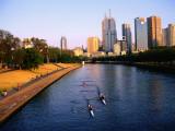 Rowers on Yarra River with City Skyscrapers in Background Fotografie-Druck von Glenn Van Der Knijff
