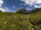 Hiker Treks Uphill Towards Mt Chaukhi Reproduction photographique par Mark Daffey