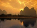 Limestone Karst Formations Along the Li River at Yangshu Photographic Print by Mark Kirby