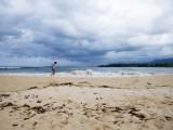 Man Walking on Beach after Storm Reproduction photographique par Sabrina Dalbesio