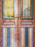 Detail of Faded Mulit-Colour Door in Fes El Bali Photographic Print by Orien Harvey
