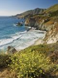 Cliffs Along Big Sur Coastline, Near Rocky Creek Bridge on Highway One Photographic Print by Witold Skrypczak