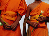 Orange-Robed Monks at Phra Pathom Chedi, the World's Talles Buddhist Monument Fotografisk tryk af Antony Giblin