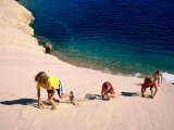 Overhead of Children Climbing Sand Dune Photographic Print by Philip & Karen Smith