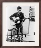 Bob Dylan Playing Guitar and Harmonica into Microphone. 1965 Prints
