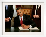 President Barack Obama Signs His First Act as President in the President's Room, January 20, 2009 Framed Photographic Print