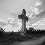 Silhouette of Stone Cross Near Church of Los Remidos, Mexico City Fotografisk trykk av H. Armstrong Roberts
